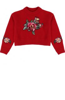 Укороченный шерстяной пуловер с цветочными нашивками Dolce & Gabbana