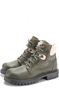Кожаные ботинки на шнуровке с молнией Il Gufo