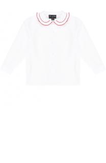 Хлопковая блуза с контрастной отделкой Oscar de la Renta