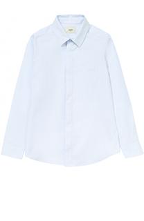 Хлопковая рубашка прямого кроя в полоску Fendi Roma