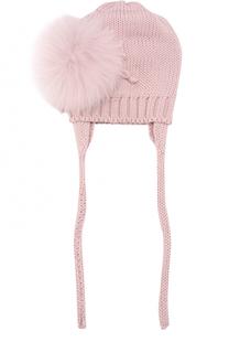 Шерстяная шапка с меховым помпоном Catya