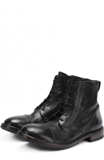Высокие кожаные ботинки на шнуровке с круглым мысом Moma
