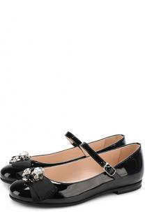 Лаковые туфли на ремешке с бантом и кристаллами Il Gufo