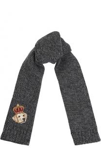 Шерстяной шарф с нашивкой Dolce & Gabbana