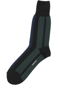 Хлопковые носки в полоску Sacai