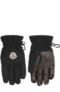 Перчатки с кожаной отделкой Moncler Enfant