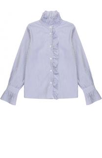 Хлопковая блуза в полоску с оборками Dal Lago