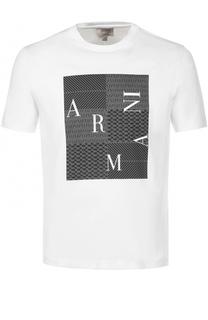 Хлопковая футболка с принтом Armani Collezioni
