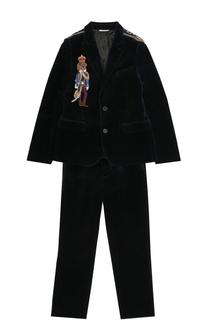 Хлопковый костюм с вышивкой и декором на плечах Dolce & Gabbana