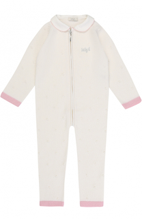 Шерстяной комбинезон фактурной вязки на молнии с контрастной отделкой Baby T