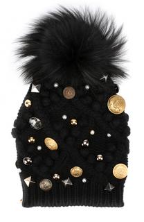 Кашемировая шапка фактурной вязки с меховым помпоном и брошками Dolce & Gabbana