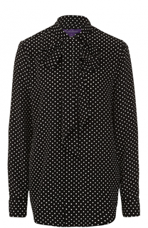 Шелковая блуза в горох с воротником аскот Ralph Lauren