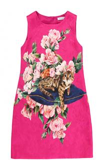 Приталенное мини-платье из смеси хлопка и шелка с ярким принтом Dolce & Gabbana