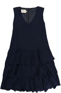 Платье А-силуэта с оборками без рукавов Caf