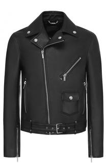 Кожаная куртка с косой молнией Versace