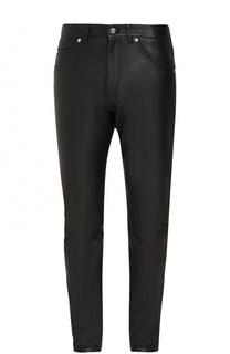 Кожаные брюки прямого кроя Versace