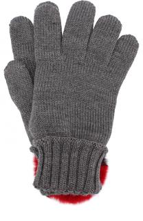 Шерстяные перчатки с отделкой из меха кролика Dolce & Gabbana