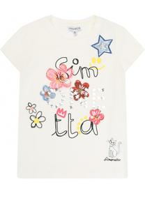 Хлопковая футболка с принтом и аппликациями Simonetta