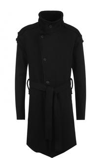 Однобортное хлопковое пальто с поясом Lost&Found Lost&Found