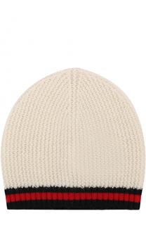 Кашемировая шапка с контрастной отделкой Gucci