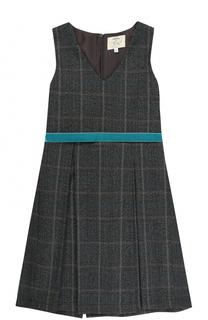 Шерстяное платье в клетку с защипами и поясом Caf