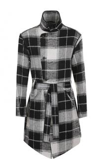 Однобортное пальто из смеси льна и шерсти с воротником-стойкой Lost&Found Lost&Found