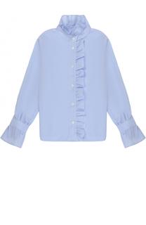Хлопковая блуза прямого кроя с оборками Dal Lago