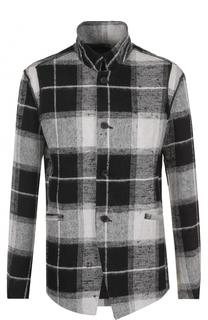 Однобортный пиджак из смеси льна и шерсти с воротником-стойкой Lost&Found Lost&Found