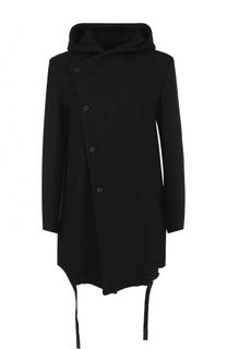 Однобортное пальто с капюшоном из смеси хлопка и шерсти Lost&Found Lost&Found