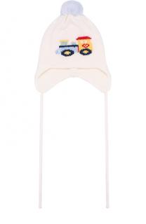Шерстяная шапка с принтом и помпоном Il Trenino