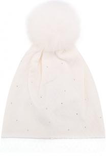 Шерстяная шапка с вуалью и помпоном Il Trenino