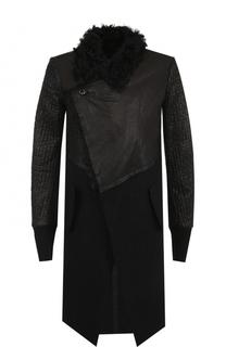 Удлиненное пальто асимметричного кроя с меховой отделкой воротника Lost&Found Lost&Found