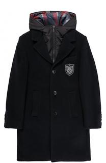 Однобортное шерстяной пальто прямого кроя с жилетом и капюшоном Dolce & Gabbana