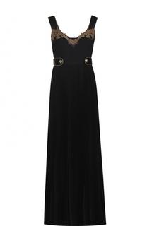 Шелковое платье-макси с декорированным лифом Roberto Cavalli