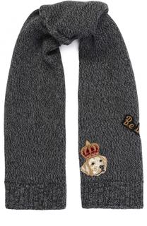 Шерстяной шарф с аппликациями Dolce & Gabbana