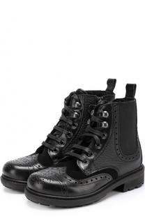 Кожаные ботинки на молнии с эластичной вставкой и брогированием Dolce & Gabbana
