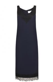 Платье прямого кроя с кружевной отделкой BOSS