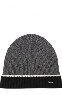 Шерстяная вязаная шапка с контрастным отворотом BOSS