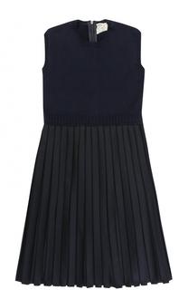 Шерстяное платье с плиссированной юбкой Caf