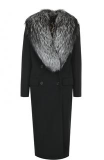 Двубортное пальто с отделкой из меха лисы Dolce & Gabbana