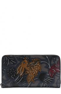 Кожаное портмоне на молнии с принтом Burberry