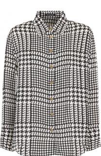 Шелковая блуза с принтом гусиная лапка Balmain