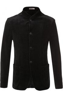 Однобортный хлопковый пиджак с воротником-стойкой Armani Collezioni