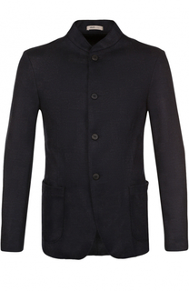 Шерстяной однобортный пиджак с воротником-стойкой Armani Collezioni