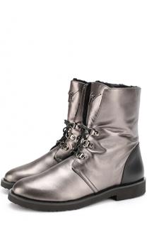 Ботинки Fortune из металлизированной кожи на шнуровке Giuseppe Zanotti Design