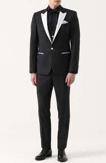 Смокинг-тройка из смеси шелка и шерсти с контрастной отделкой Dolce & Gabbana