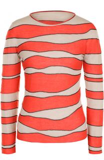 Кашемировый пуловер с круглым вырезом и принтом Giorgio Armani