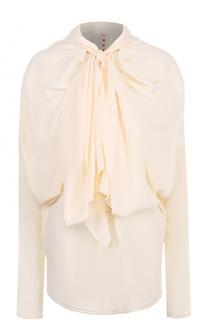 Блуза с драпировкой и воротником аскот Marni