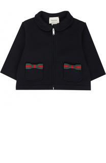 Хлопковый кардиган на молнии с декоративными карманами Gucci