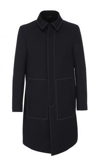 Шерстяное однобортное пальто с контрастной прострочкой Fendi